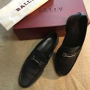 Bally Swiss Made Black Leather Simpler Loafers